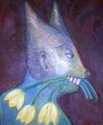 oil-paintingcat-with-yellow-tulips-1
